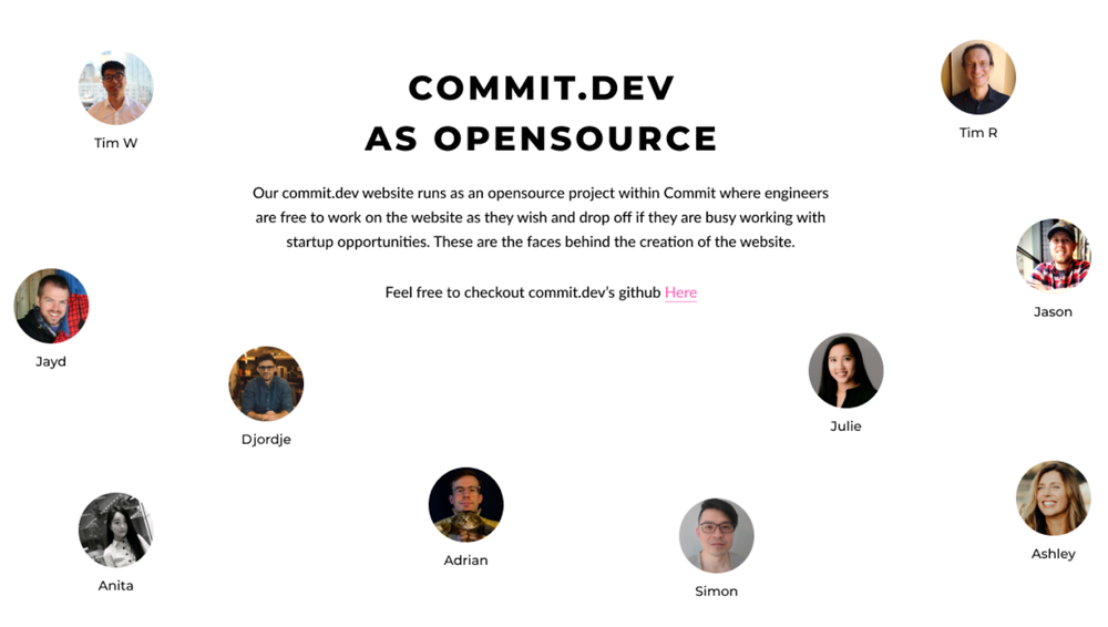 Layout of open-source section of website